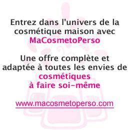 Recettes de cosmétique maison par MaCosmetoPerso - www.macosmetoperso.com : conseils, recettes, ingrédients, matières premières, contenants et accessoires pour cosmétiques à faire soi-même